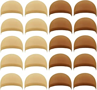 20 PCS Nylon Stretchy Material Wig Caps, PAFOWO 10 PCS Natural Beige Stocking Hair Nets & 10 PCS Light Brown Caps for Wigs Women