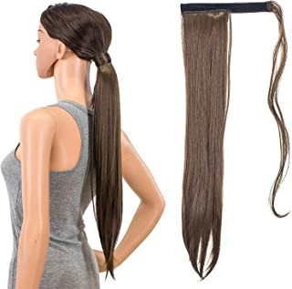 SWACC Women Long Straight/Curly Wavy Wrap Around Ponytail Extension Synthetic Hair Piece Clip in Hair extensions (Straight, Meduim Brown -8A)