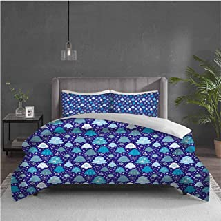 GUUVOR Winter 3-Pack (1 Duvet Cover and 2 Pillowcases) Bedding Snowflakes and Silhouettes of Christmas Pine Trees Sweet Christmas Polyester (Full) Violet Blue Pale Blue White