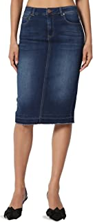 13d0c5159492 TheMogan Butt Lift Wash Jean Pencil Knee Length Midi Stretch Soft Denim  Skirt