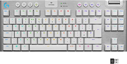 Logitech G915 TKL White Tactile Tenkeyless Lightspeed Wireless RGB Mechanical Gaming Keyboard, Low Profile Switch Options,...