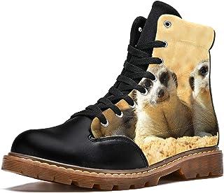 LORVIES Suricata Suricatta Africain Bottes d'hiver Chaussures Montantes en Toile à Lacets pour Hommes