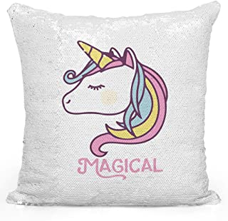 Loud Universe Magical Rainbow Unicorn Girly Sequin Magic Flip Throw Pillow, White - 16 x 16 inch