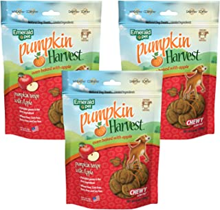 Emerald Pet Pumpkin Harvest Chewy Meat Free Natural Dog Treats, 3 Packs and 4 Pack Variety Made in USA (3 Pack Apple)