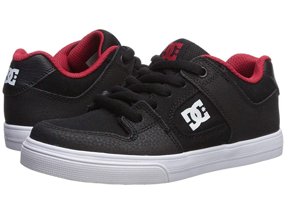 DC Kids Pure (Little Kid/Big Kid) (Black/Athletic Red/White) Boys Shoes