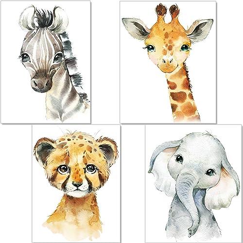 artpin® Set de 4 Affiches décoration pour Chambre d'enfant- posters de bébé garçon ou Fille - Animaux de safari dans ...