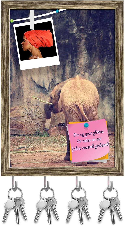 Artzfolio Baby Elephant Key Holder Hooks   Notice Pin Board   Antique golden Frame 12 X 17.5Inch