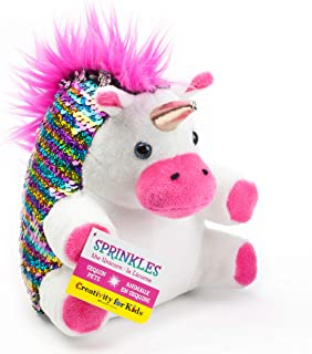 Creativity for Kids Mini Sequin Pets, Sprinkles The Unicorn Plush Toy - Weighted Sensory Toys for Kids