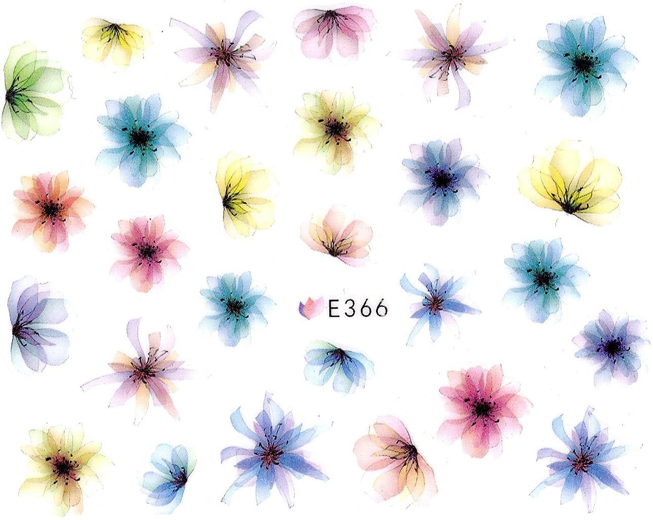 権利を与える酸キロメートルネイルシール 水彩風 花 フラワー 選べる10種類 (02-T37)