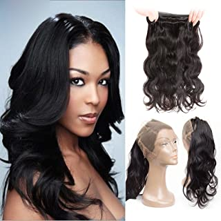 Loose Wave 360 Lace Closure Pre Plucked Frontal Lace Closure With Baby Hair Natrual Hairline 130 Density Brazilian Hair Top Quality 100 Percent Human Hair Extension For Black Woman Dark Brown 12 Inch