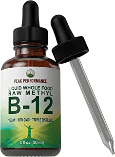Raw Whole Food Methyl B12 Liquid Drops. Best Vegan Advanced B 12 Liquid Vitamin Supplement. High Bioavailability Triple Distilled Methylcobalamin B-12 for Energy and Stress Relief. for Men and Women