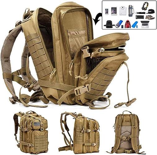 JIASHU 50L Capacité Militaire Tactique Sac à Dos Grande Armée 3 Jours Assault Pack Molle Sac Sacs à Dos Sacs à Dos pour la randonnée en Plein air Camping Trekking Hunting,jaune