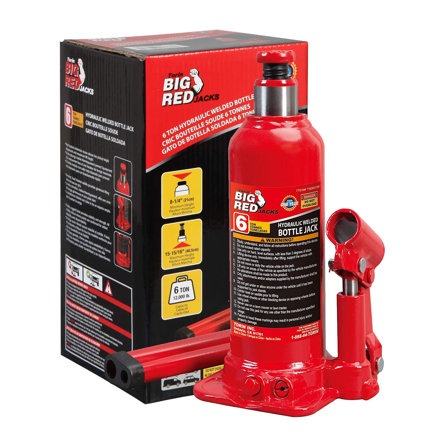 Amazon Com Big Red T90603b Torin Hydraulic Welded Bottle Jack 6 Ton 12 000 Lb Capacity Red Automotive