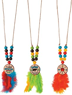 Fun Express Feather and Bead Necklace Craft Kit (Makes 12 of 30 Inch Necklaces) Craft Jewelry Kits for Kids