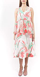 PAROSH Women's Floral Print Sheer Sleeveless Casual Top - White