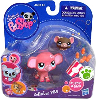 Littlest Pet Shop Hasbro Bobble-Head Pink Elephant # 1808 and Mouse # 1809 LPS 2-Pack (Discontinued by Manufacturer)