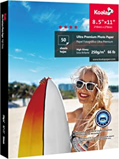 Koala Premium Photo Paper 8.5x11 inch High Glossy Heavyweight 66lb for inkjet printer 50 Sheets
