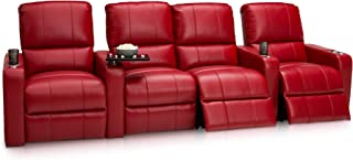 Seatcraft Millenia Home Theater Seating Power Recline Leather (Row of 4 Loveseat, Red)