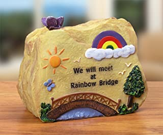 BANBERRY DESIGNS Pet Memorial Desk Top Message Rock - Rainbow Bridge - Approx. 3