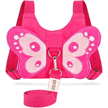 EPLAZA Baby Toddler Walking Safety Butterfly Belt Harness with Leash Child Kid Assistant Strap (Butterfly Harness Rose)