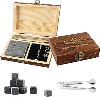 Whisky Steine Set, Eiswürfel Set, Whiskysteine aus Granit im 9er Set, Ice Cube Würfel Form Inklusive Zange & Stoffbeutel, Perfektes Zubehör für Whiskey Geschenk, für Gin, Whisky, Rum, Wein