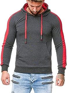 Beautyfine Men Pullover Long Sleeve Splicing Hooded Sweatshirt Tops Blouse