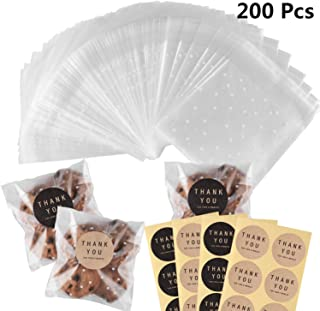 200Pcs White Dots Cellophane Bakery Cookie Candy Bags with 200 Thank You Stickers for Party Wedding Birthday