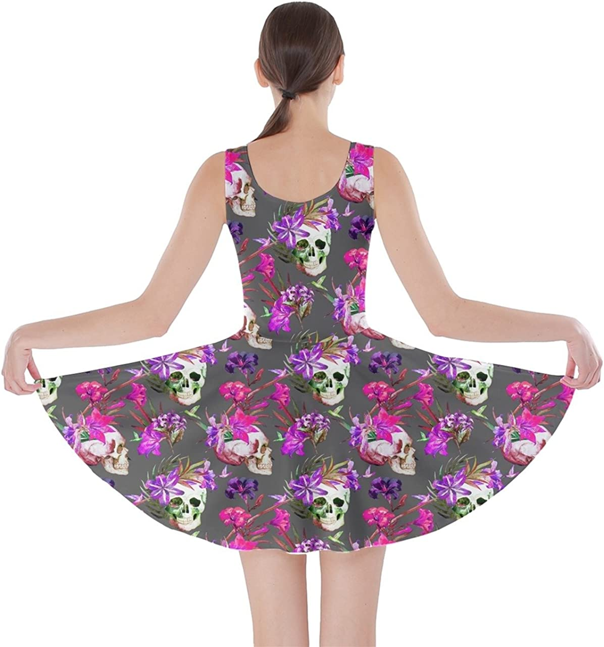 CowCow Womens Sugar Skull Flowers Floral Skeleton Mexican Day of Dead Roses Skater Dress, XS-5XL
