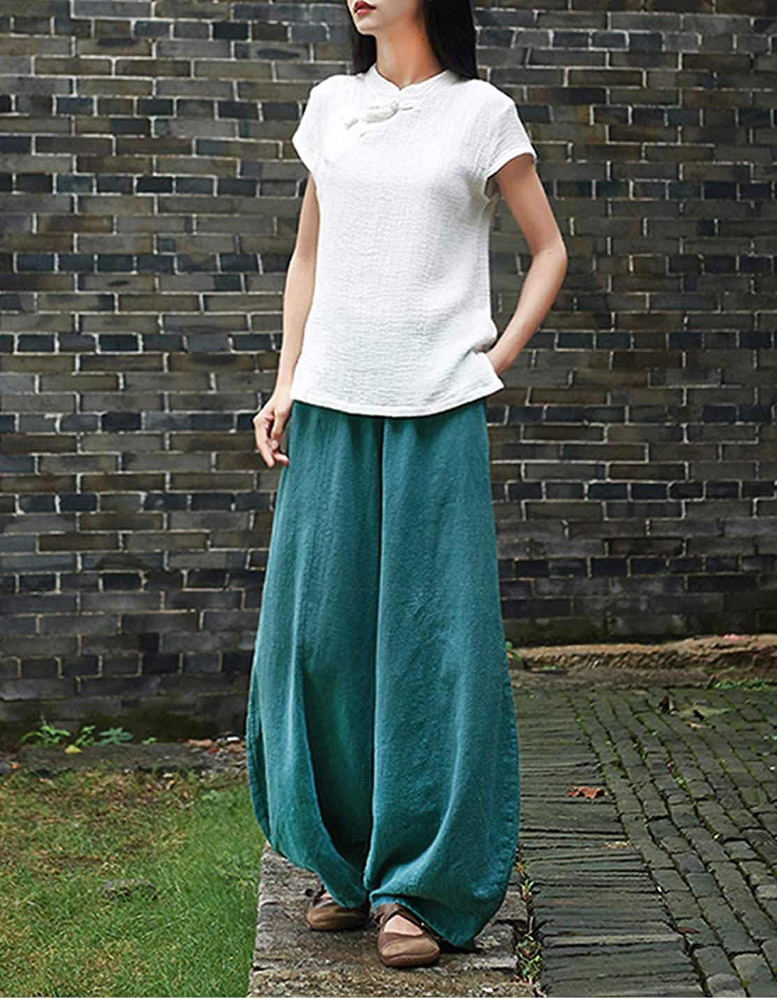 Yeokou Women's Casual Elastic Baggy Cotton Linen Tapered Lantern Trousers Pants Bloomers