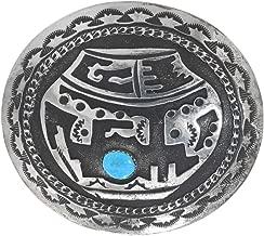 Vintage Turquoise Overlaid Silver Belt Buckle Sterling Pottery Design 0082