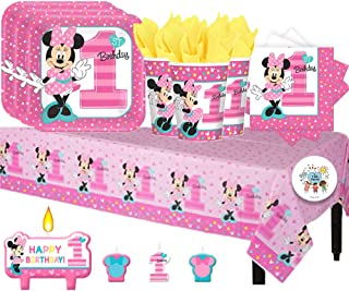 Another Dream Disney Minnie Mouse Fun to Be One Birthday Party Pack for 16 with Plates, Napkins, Cups, Tablecover, and Candles