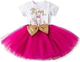 FYMNSI Newborn Baby Girls It's My 1st/2nd Birthday Cake Smash Dress Shiny Printed Sequin Bowknot Tutu Princess Dress