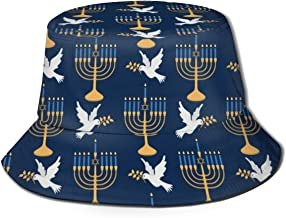 Xint Menorah and Dove of Peace Unisex Bucket Hat Flat Top Fisherman Hat Outdoor Sun Cap