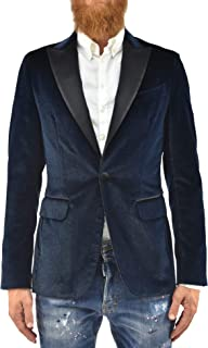 DSQUARED2 Blazer Jacket Elegant Man Blue Cotton One Button Glitter Size IT46