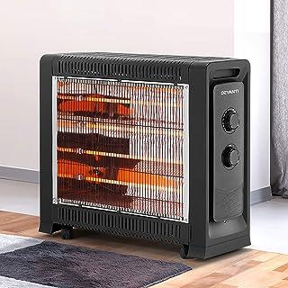 Devanti Infrared Radiant Electric Heater Halogen Panel Portable Convection Heating Black 2200W
