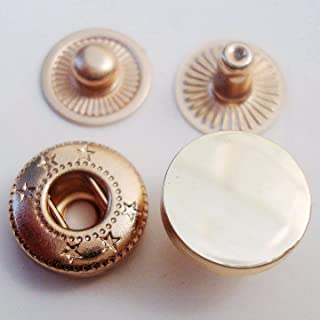 12mm Metal Snap Fasteners 20sets Press Stud Rounded Sewing Rivet Buttons Clothing Leather Craft DIY Poppers (Gold)