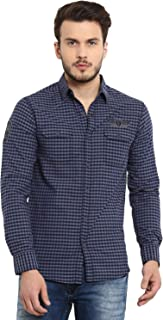 Mufti Men's Checkered Slim Fit Casual Shirt (MFS-9580-H-10_Brown_M)