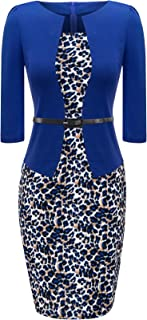 Women's 3/4 Sleeve Plaid Work Business One-Piece Knee Length Pencil Dress