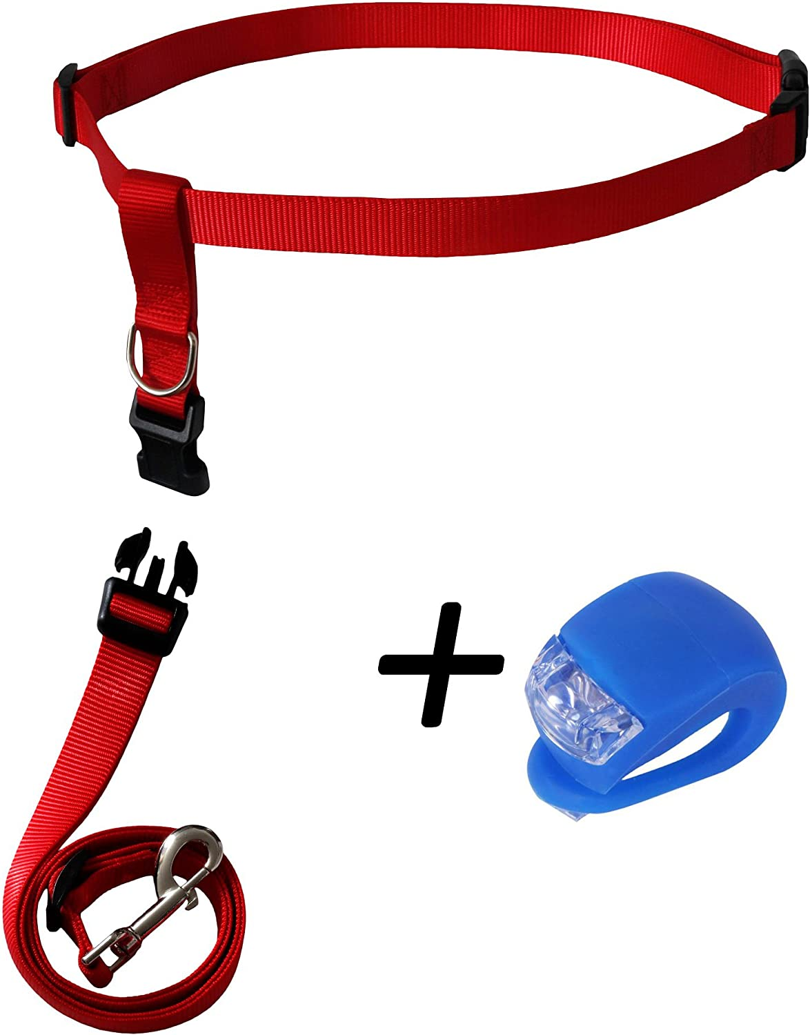 Running Dog Leash Hands Free  Including LED Light. Great for Walking, Running, Biking and Jogging (Red).