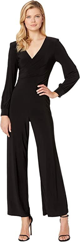 Matte Jersey Draped Jumpsuit with V-Neckline and Long Sleeve