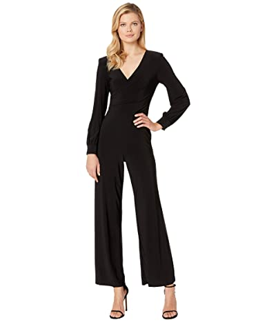 Adrianna Papell Matte Jersey Draped Jumpsuit with V-Neckline and Long Sleeve (Black) Women