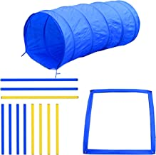 PawHut 4PC Obstacle Dog Agility Training Course Kit Backyard Competitive Equipment- Blue/Yellow
