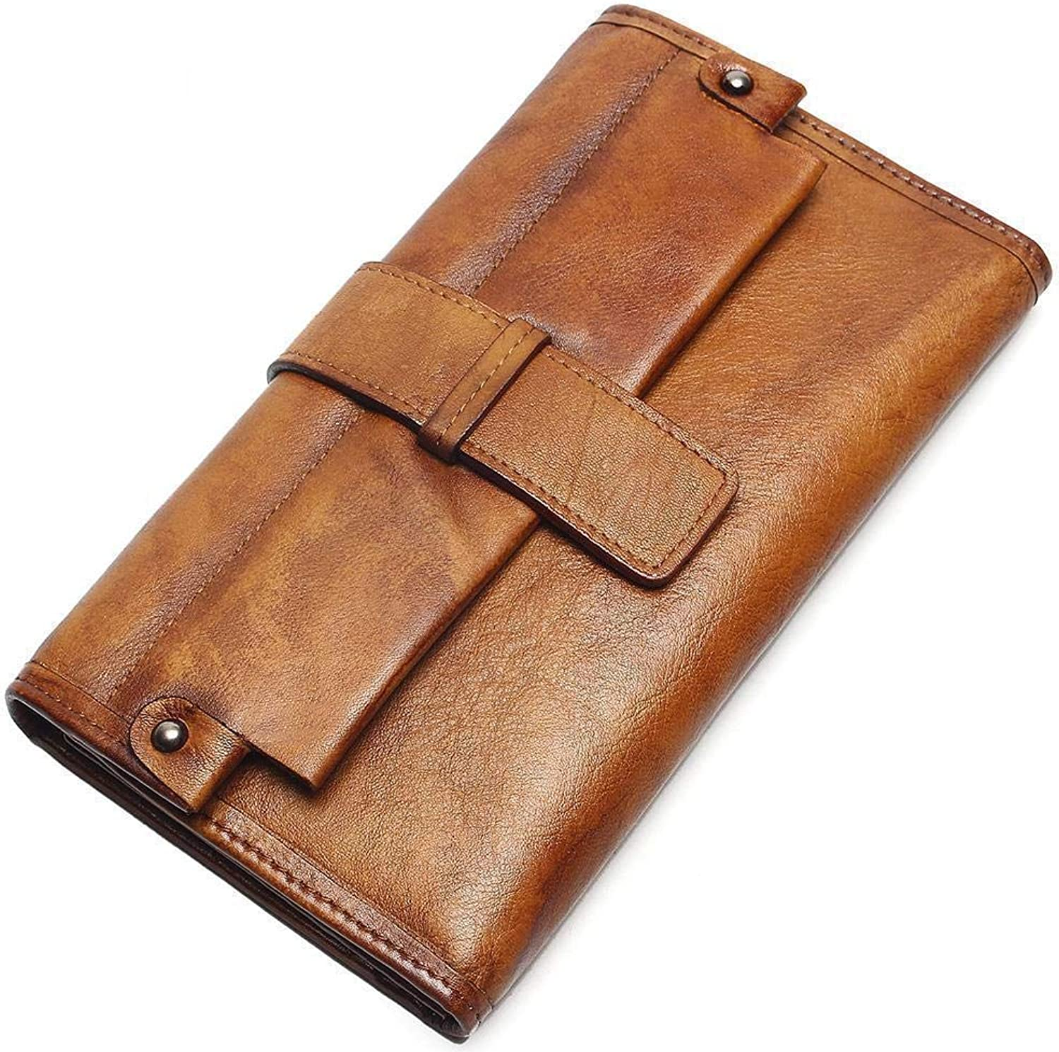 Mayanyan HandDyed Unisex Long Wallet Card Baotou Layer Cowhide Leather Casual Wallet Bag Clutch Bag