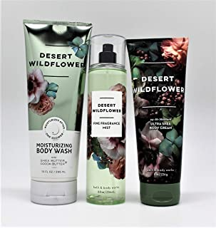 Bath and Body Works - Desert Wildflower - 3 pc. Gift Set - Moisturizing Body Wash, Fine Fragrance Mist and Ultra Shea Body Cream - (2019 Edition)
