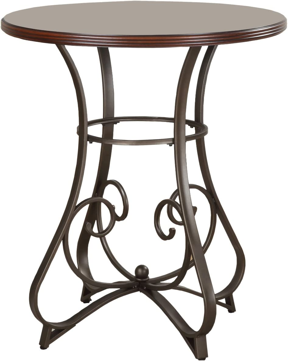 "Powell 697-404 Hamilton Pub Table, Brushed Faux Medium Cherry wood Matte Pewter & Bronze metal 36"" x 36"" x 42"" tall: Furniture & Decor"