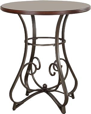 "Powell 697-404 Hamilton Pub Table, Brushed Faux Medium Cherry wood Matte Pewter & Bronze metal 36"" x 36"" x 42"" tall"