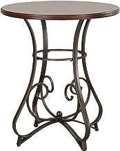 Powell Hamilton Pub Table, Brushed Faux Medium Cherry wood Matte Pewter & Bronze metal