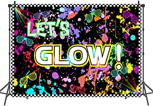Mehofoto Neon Glow Party Theme Backdrop Glow in The Dark Party Photography Background 7x5ft Glow Birthday Party Backdrops for Kids Adults