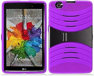 KIQ LG GPAD X 8.0 (V520) Drop Protection Case Silicone Outer Layer, Hard Plastic Shell Cover Kickstand for LG G PAD GPAD X 8.0 8-inch V520 V521 / LG G Pad III 8.0 V525 (Hybrid Purple)