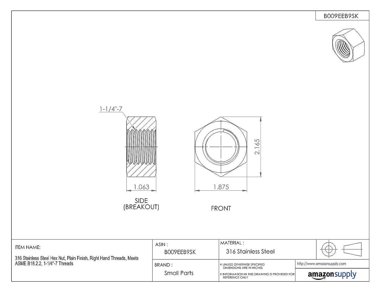 Zinc Plated Finish Right Hand Package of 5 1-1//2-12 Nylon Insert Lock Nut Grade 2 Steel ASME B18.16.6